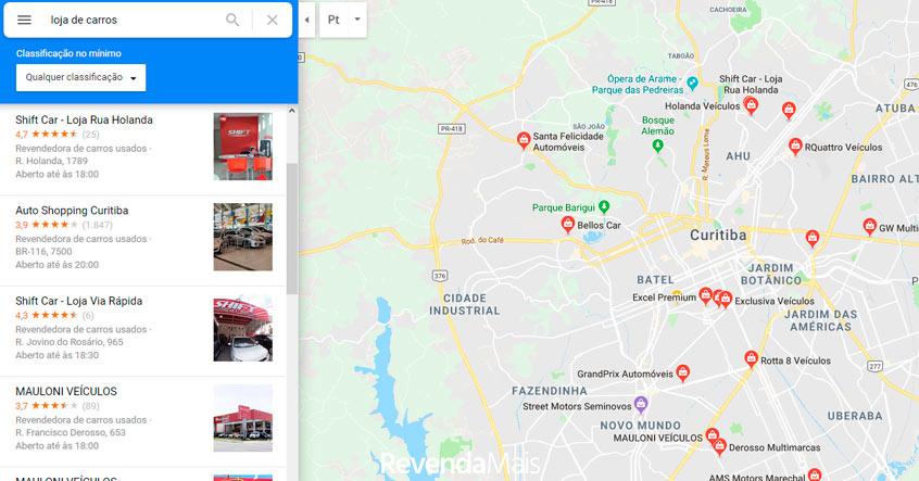 loja de carros no google maps